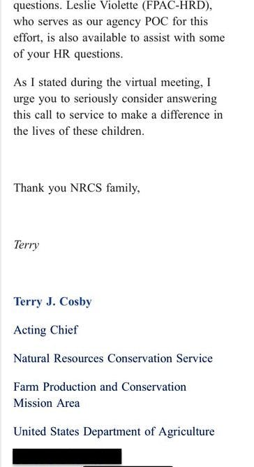 NRCS email to staff regarding HHS volunteer program (Screenshot obtained by The Spectator)